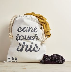 Travel Laundry Bag In Premium Canvas 'Can't Touch This'