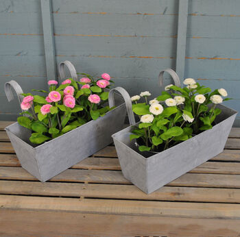 Set Of Two Zinc Metal Balcony Flower And Herb Planters