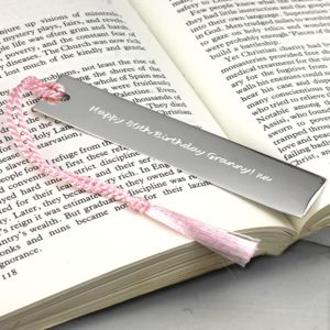 Personalised Silver Bookmark With Tassel - desk accessories