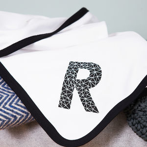 Personalised Baby Blanket With Geometric Initial