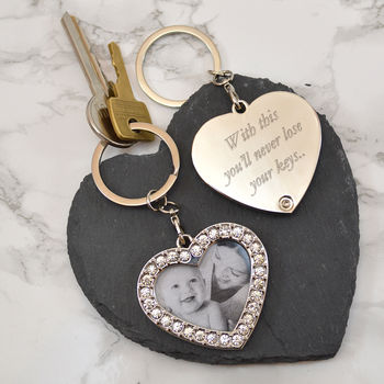 Personalised Heart Shaped Photo Key Ring