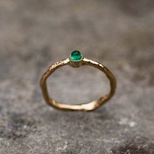 Water Ring Solid 9ct Yellow Eco Gold With Emerald