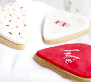 Personalised Candy Heart Valentines Trio Sugar Biscuits - biscuits and cookies