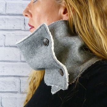 Grey Yorkshire Tweed Neckwarmer Scarf