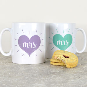 Set Of Personalised Mrs And Mrs Mugs - mrs & mrs