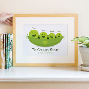 Peas In A Pod Family Print Personalised - new in prints & art