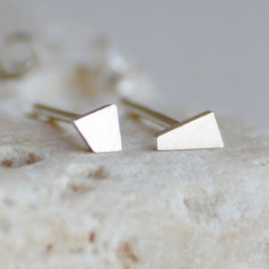 Sterling Silver Tiny Quadrilateral Earring Studs - earrings