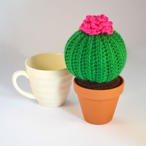 Crocheted Amigurumi Cactus Green And Pink - flowers, plants & vases