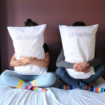 Couples Embroidered Mr And Mrs Personalised Pillowcases