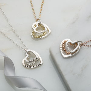 Personalised Family Names Bead Heart Necklace - wedding fashion