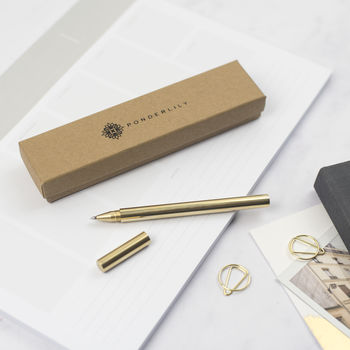Picture of brass pen with packaging