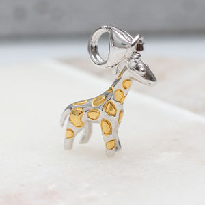 Sterling Silver And 18ct Gold Clip On Giraffe Charm