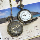 Personalised Bronze Pocket Watch Triple Horse Design