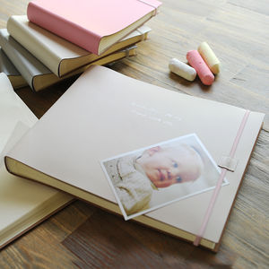 Personalised Leather Baby Girl Photo Album Extra Large - gifts for babies