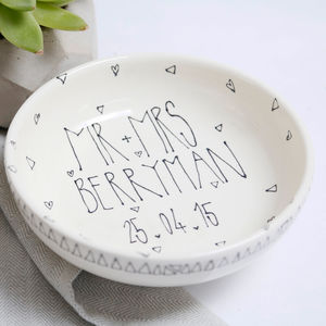 Personalised Ceramic Anniversary Bowl - bowls