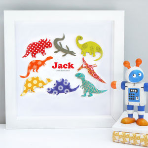 Personalised Baby Boy Dinosaur Artwork - children's room
