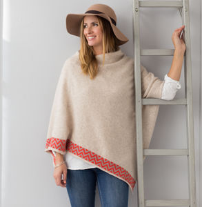 Oatmeal Knitted Lambswool Poncho