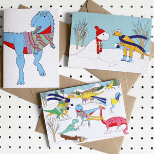 Snow Day Dinosaur Greeting Card Pack - cards & wrap