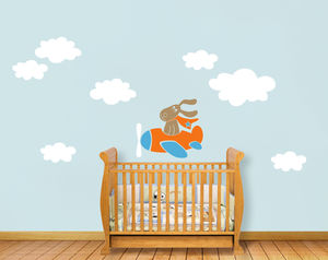 'Flying Dog With Clouds' Wall Sticker - office & study