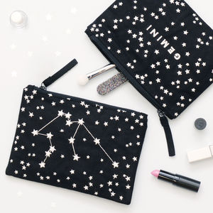 Zodiac Embroidered Pouch - make-up & wash bags