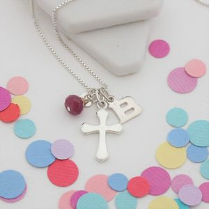 Personalised Silver Cross With Birthstones - children's jewellery