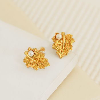 Gold Leaf Earrings With Pearl