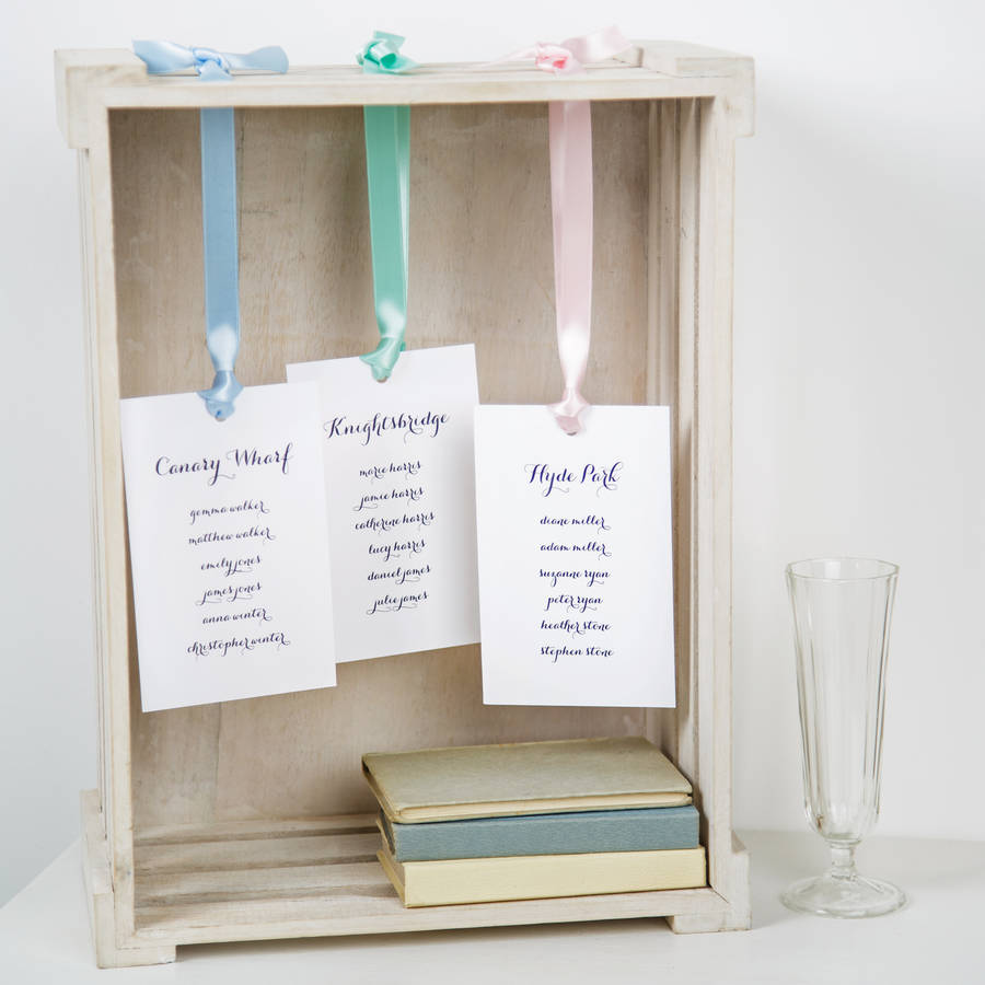 Personalised Wedding Table Plan Tags