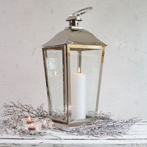 Silver Stainless Steel Candle Lantern - outdoor lights