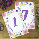 Purples Florals Wedding Table Number Cards