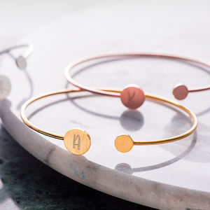 Personalised Double Disc Initial Bangle - gifts for her