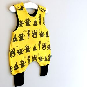 Alien Organic Baby Romper, Monsters Dungarees, Was £24