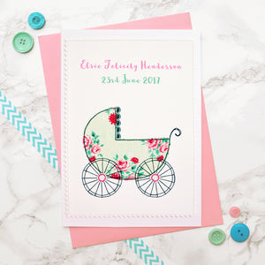 'Pram' Handmade New Baby Girl Card