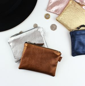 Metallic Leather Small Pouch - purses & wallets