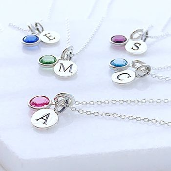 Silver Birthstone And Intial Necklace