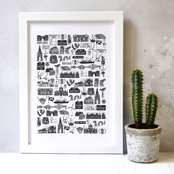Scottish Illustrated Black And White Print