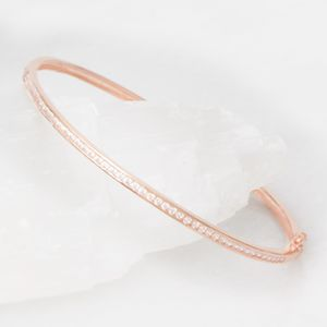 Jennifer Sterling Silver Cubic Zirconia Bangle - bracelets & bangles