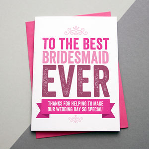 Best Bridesmaid Thank You Card