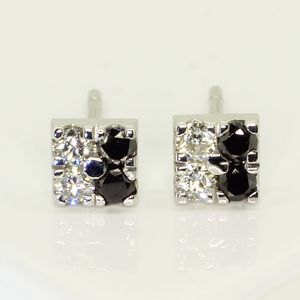 White Gold Diamond Square Earrings
