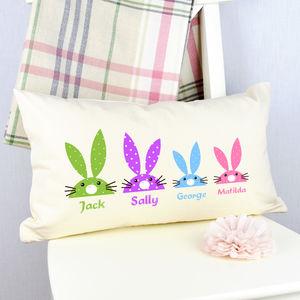 Personalised Rabbit Family Cushion