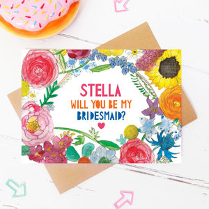 Personalised Will You Be My Bridesmaid? Flowers Card - be my bridesmaid?