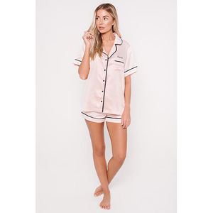 Personalised Ha Sleep Satin Luxe Short Sleeve Pyjamas