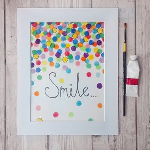 Hand Painted And Embroidered Smile Artwork - prints & art sale