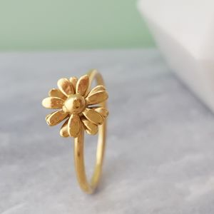 Yellow Gold Vermeil Small Daisy Ring - rings