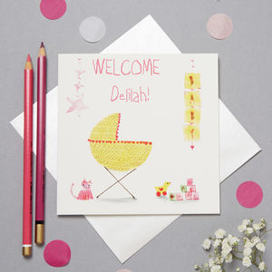 Personalised New Baby Card For Girls - new baby cards