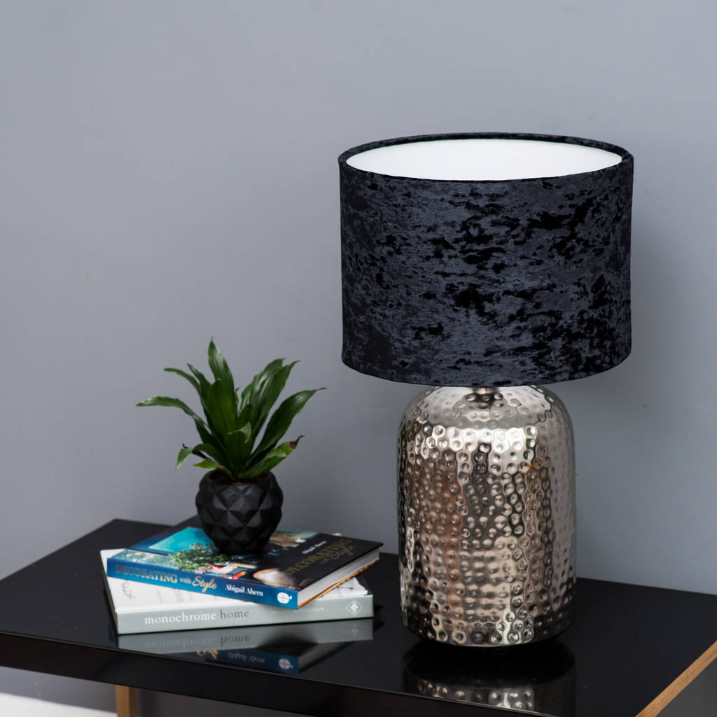 Black Crushed Velvet Effect Drum Lampshade