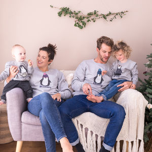 Personalised Family Penguin Christmas Jumper Set