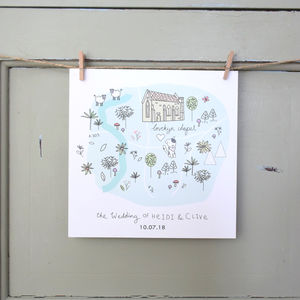 Bespoke Venue Illustrated Map Invitation - invitations