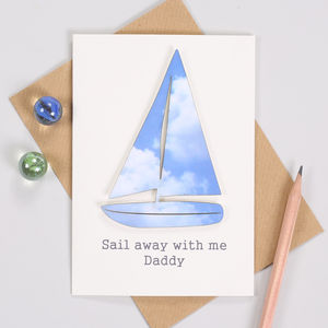 Personalised Fathers Day Sky Sailing Boat Card