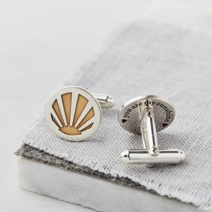 Personalised Silver And Gold Sunburst Cufflinks