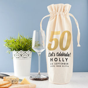 Personalised Golden 'Milestone' Birthday Wine Bag - gift bags & boxes